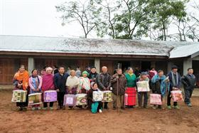 District Administration distributing Blankets to old aged persons